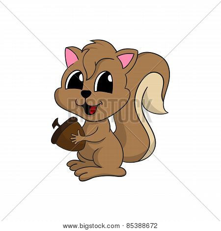 Cartoon illustration of a cute squirrel holding a nut