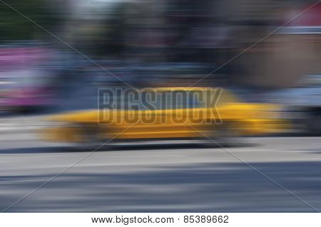 Abstract Blur Background New York City Yellow Cab
