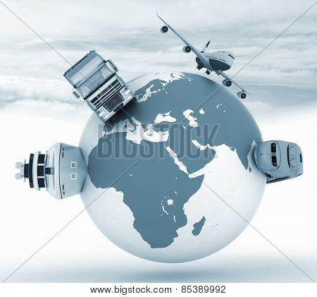Types of transport on a globe in the sky background