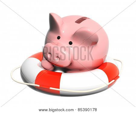 Piggy bank and lifebuoy. Objects isolated on white background