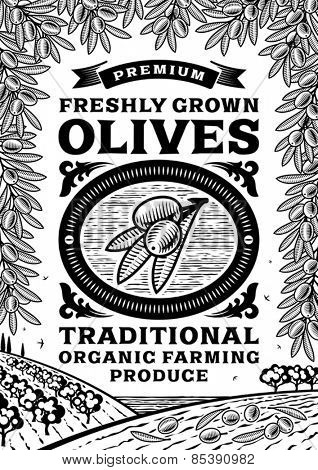 Retro olives poster black and white. Fully editable vector illustration with clipping mask.