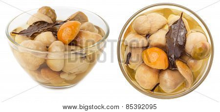 Pickled Cepe Mushrooms In Glass Bowl