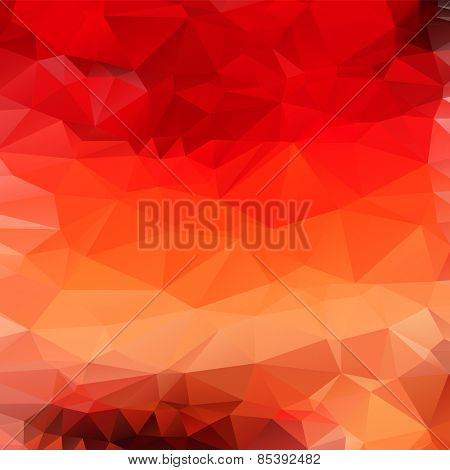 Light orange red abstract polygonal background. Vector mosaic fire pattern