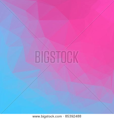 Pink blue abstract polygonal background. Vector mosaic pattern