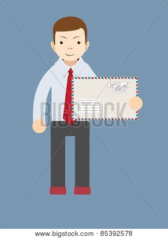 Businessman delivering mail. Vector