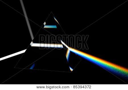 Light Separated To Spectrum Through Prism