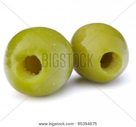 Green olives fruits isolated on white background cutout