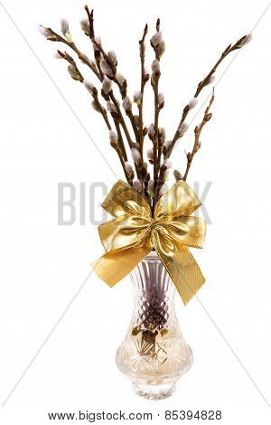 Easte Catkins With Golden Ribbon In Vase