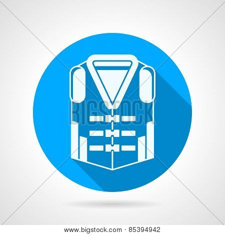Life jacket round vector icon