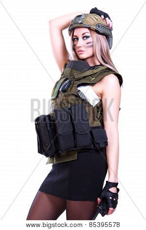 Woman In A Military Camouflage With A Walkie-talkie