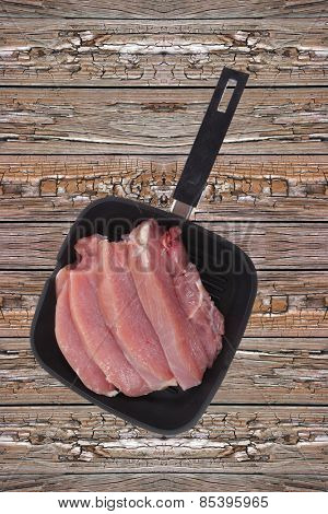 fresh raw turkey meat steak fillet over wooden table ready to cooking