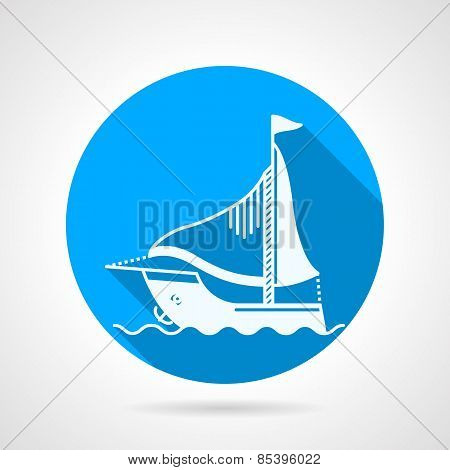 Sea yacht round vector icon