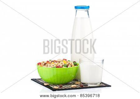 Bottle of milk with tasty cornflakes, isolated on white background