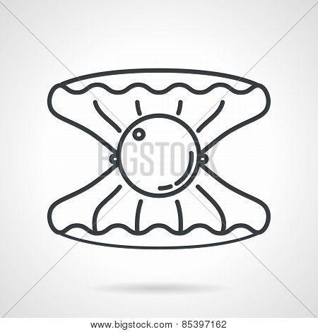 Shell with pearl black line vector icon