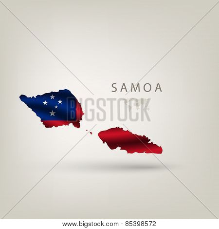 Flag of SAMOA as a country with a shadow