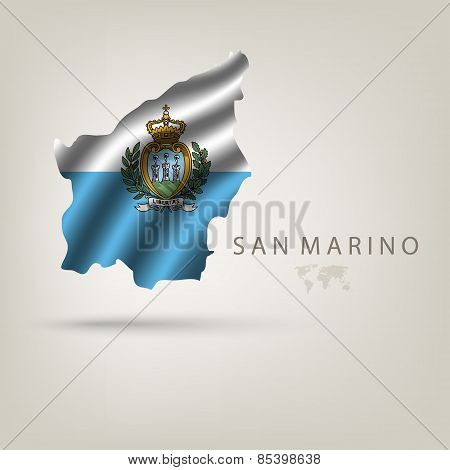 Flag of SAN MARINO as a country with a shadow