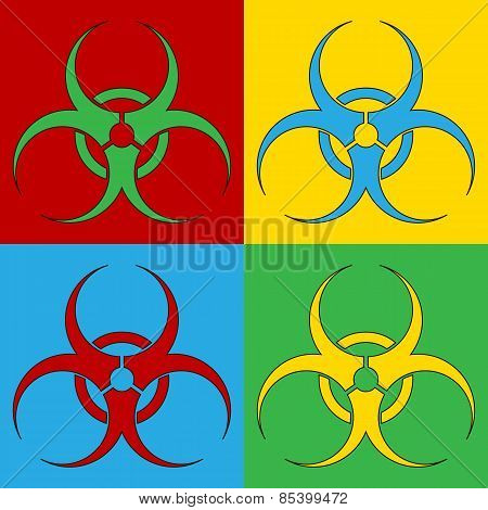 Pop Art Biohazard Sign Symbol Icons.