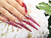pic of nail-design  - Female hand with red art design nails  - JPG