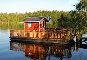 picture of sauna  - finnish beach sauna on the summer lake - JPG