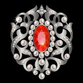stock photo of brooch  - Vintage brooch with ornate silver and precious stone - JPG