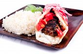foto of gyro  - healthy lean ground lamb gyro with rice and peas - JPG