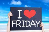 picture of friday  - I Love Friday card with beach background - JPG