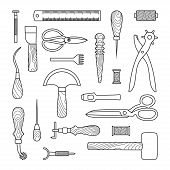 stock photo of leather tool  - Gray Leather working tools on white background - JPG