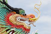 pic of taoism  - Closeup decoration design of Chinese dragon on blue sky background - JPG