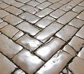 image of cobblestone  - Street with polished cobblestones in Zadar - JPG