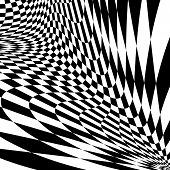 image of distort  - Design monochrome movement illusion checkered background - JPG