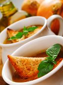 image of tilt  - French onion soup close up tilted view - JPG
