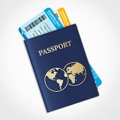 image of passport template  - Vector illustration passport with tickets - JPG
