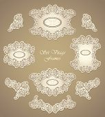 foto of vintage jewelry  - Set vintage frames and border in Antique style pearly beige colors for invitation or congratulation or for restaurant menu or for package perfumer - JPG