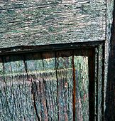foto of wood pieces  - a green piece of wood brown knocker and wood door cairate varese italy - JPG