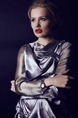 picture of silver-hair  - fashion studio photo of gorgeous woman with blond hair and bright makeup wearing luxurious silver dress - JPG
