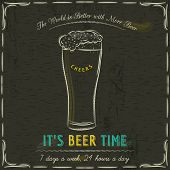 picture of drawing beer  - Brown blackboard with cold mugs of beer and text vector - JPG