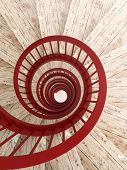 foto of balustrade  - Spiral wood stairs with red painted balustrade vertical - JPG