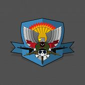 stock photo of special forces  - Military Emblem with a skull and the weapon - JPG