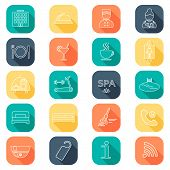 pic of glyphs  - Hotel line icons set - JPG