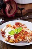 image of lasagna  - Lasagna rolls with tomato sauce - JPG
