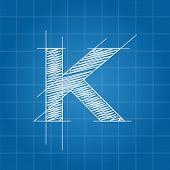 pic of letter k  - K letter architectural plan on blue print background - JPG