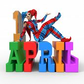 pic of fool  - 3D rendering clipart celebrating april fool - JPG