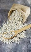 foto of phaseolus  - Wooden spoon with white beans seen from above - JPG