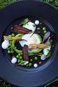 image of pea  - Egg peas peas puree bacon and green salad on a plate - JPG