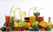 stock photo of fruit shake  - Colorful fresh fruit and vegetable juices isolated on white background - JPG