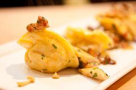 stock photo of crimini mushroom  - hand made squash tortellini with mushroom ragout - JPG