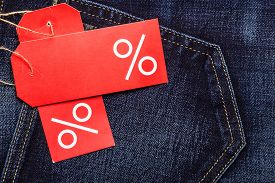 stock photo of denim jeans  - Shopping and sale concept - JPG