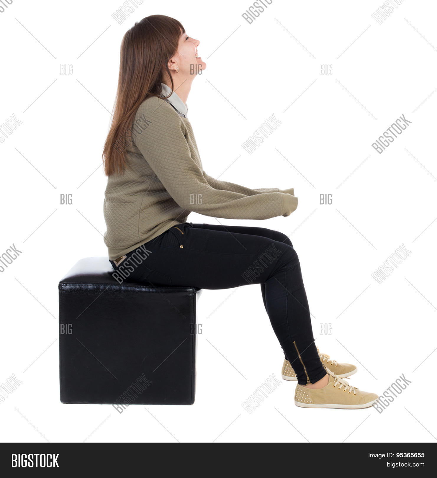 Back view young beautiful woman image photo bigstock for Ottoman to sit on