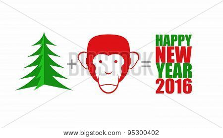Christmas tree and monkey. Mathematical formula: tree Plus head monkey equals happy new year 2016. S