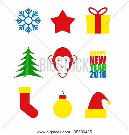 Set Symbols of  new year. Christmas tree and monkey. Snowflake and star. Hat of Santa Claus and Chri